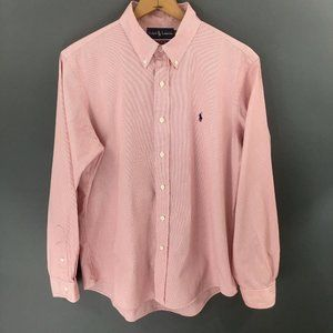 Ralph Lauren Red White Custom Fit Mens Button Down